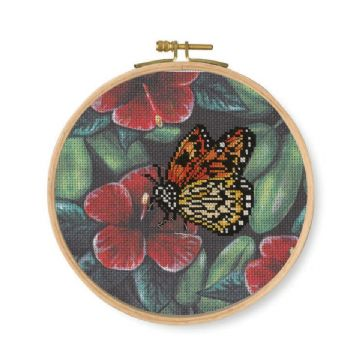 DMC Printed Embroidery Kit- Orange Butterfly  BK1789